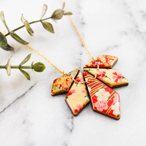 Japanese Geometric Petals Necklace... Red + Gold