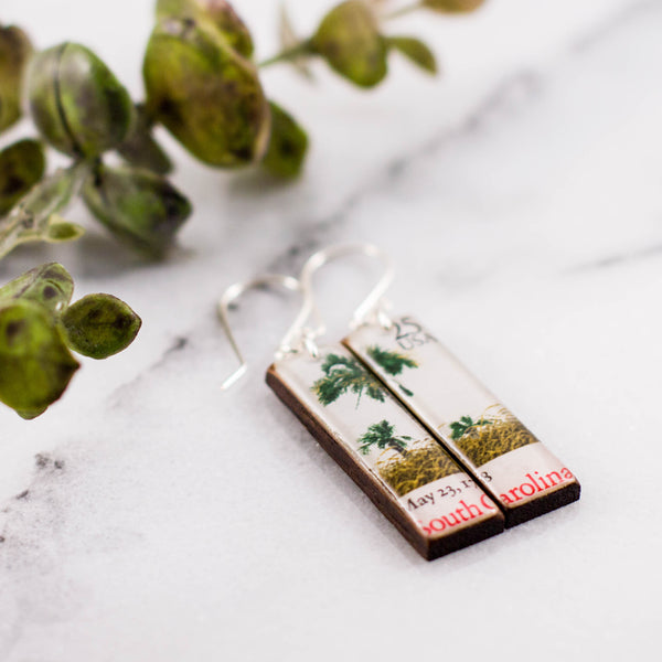 South Carolina Vintage Postage Stamp Earrings