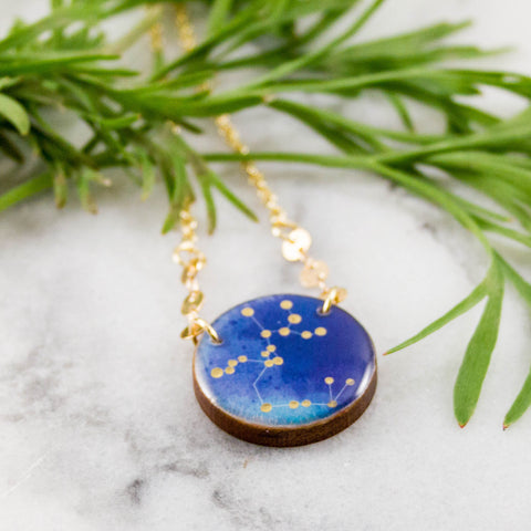 Sagittarius Handpainted Constellation Necklace