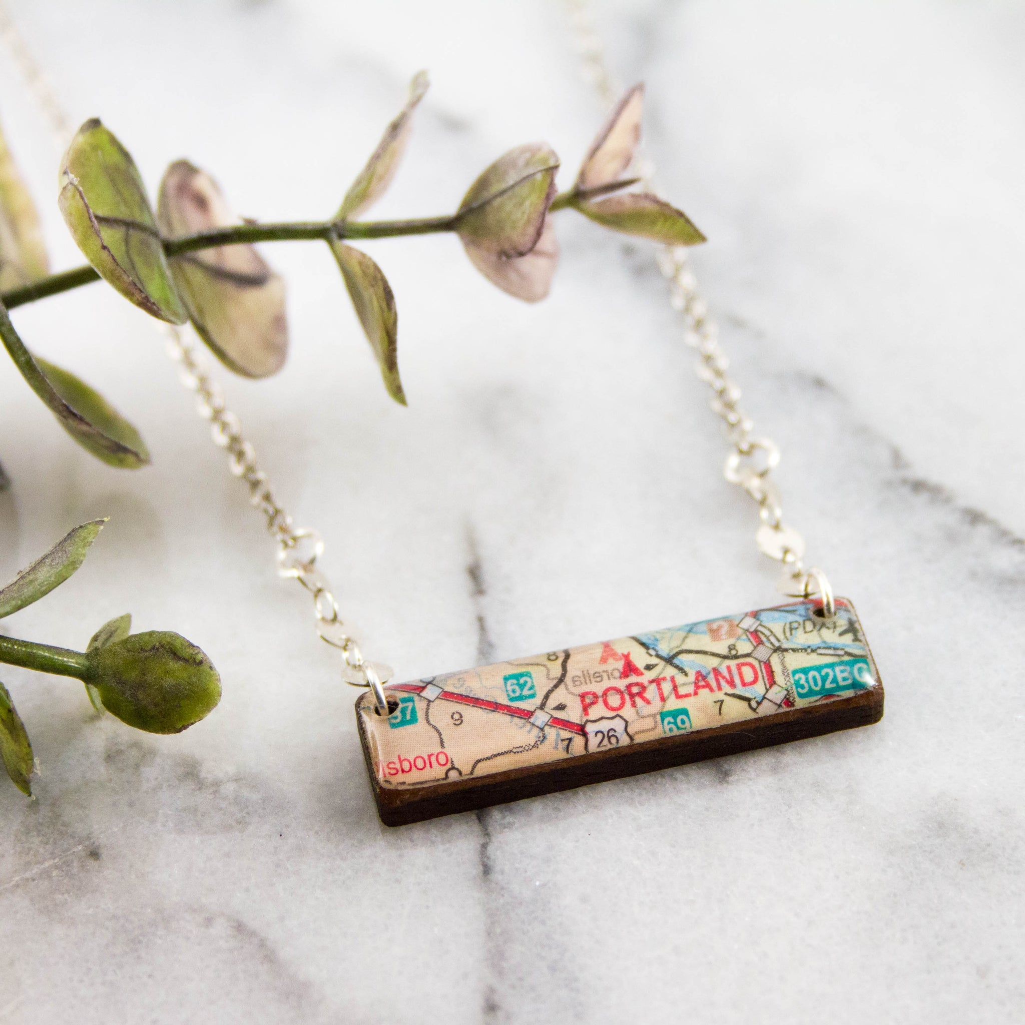 My Hometown Custom Vintage Map Necklace