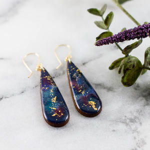 Galaxy Watercolor Drop Earrings