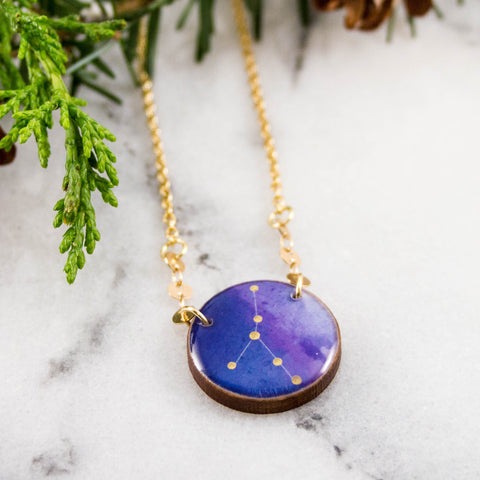 Cancer Handpainted Constellation Necklace