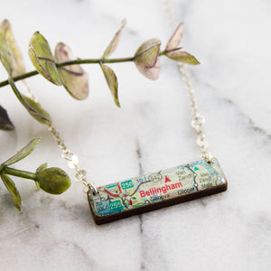 WASHINGTON- Bellingham Vintage Roadmap Necklace