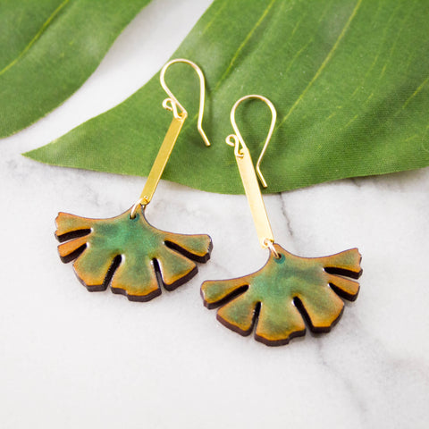 Gingko Leaf Wood + Brass Earrings