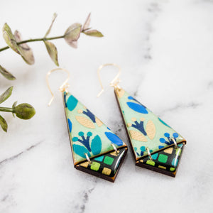 Japanese Double Triangle Earrings- Modern Mint Floral