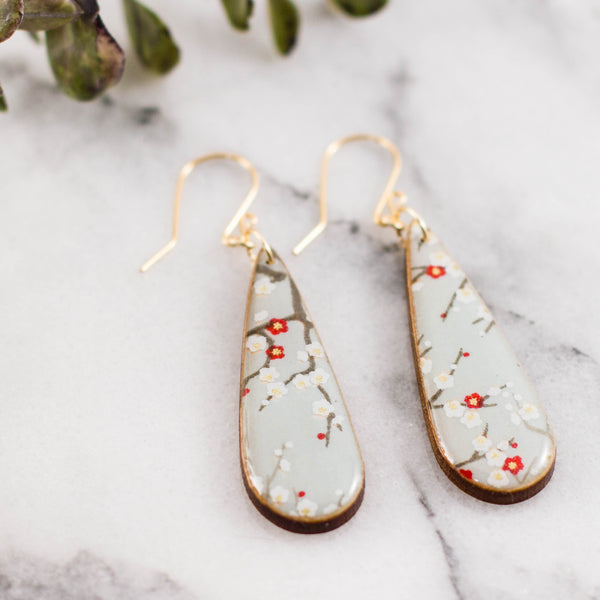 Teardrop Pale Blue Cherry Blossom Earrings