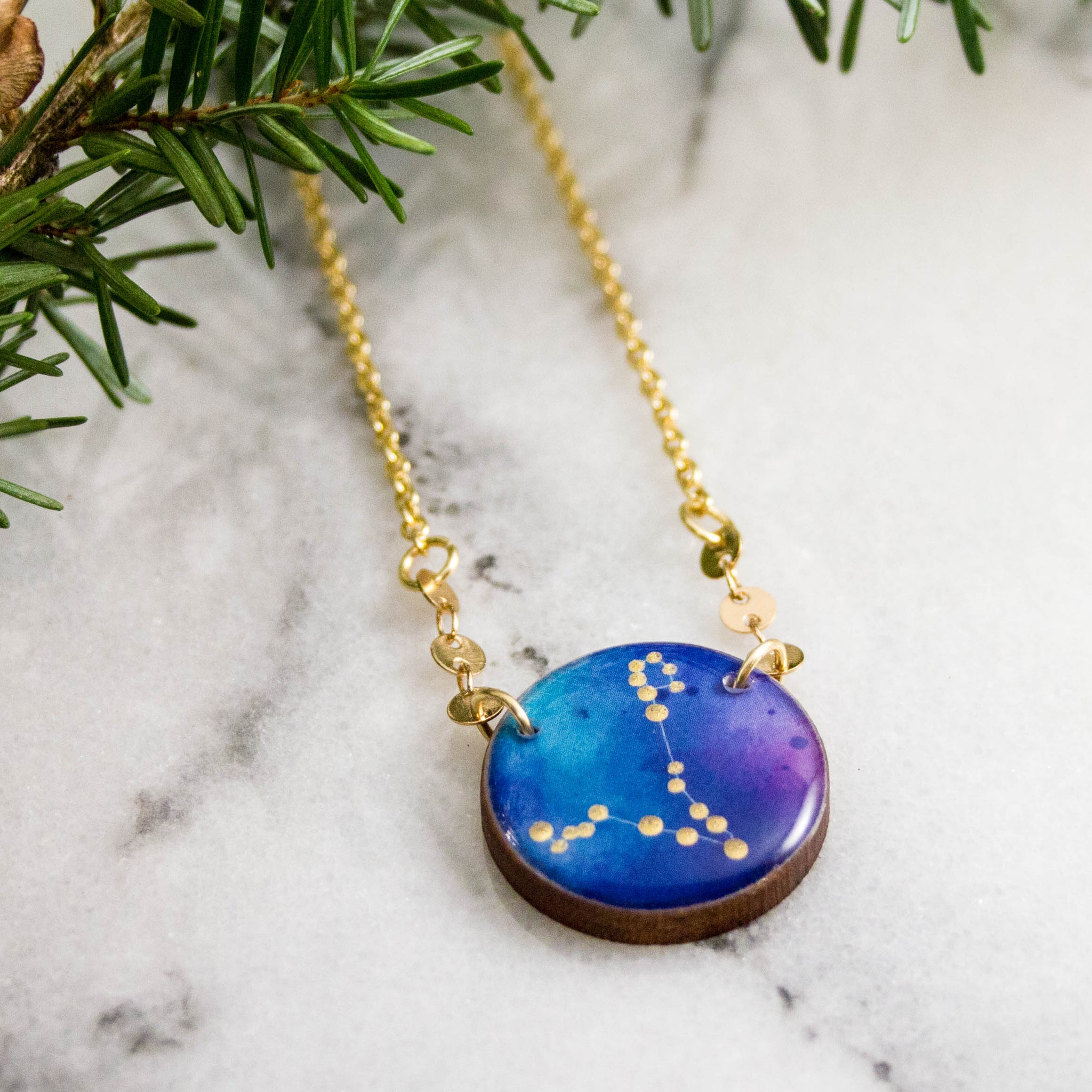 Pisces Handpainted Constellation Necklace