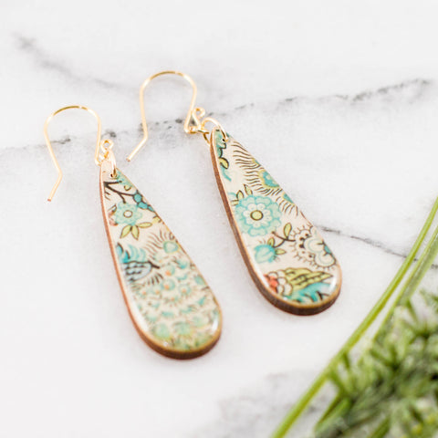 Teardrop Turquoise Sketch Floral Earrings