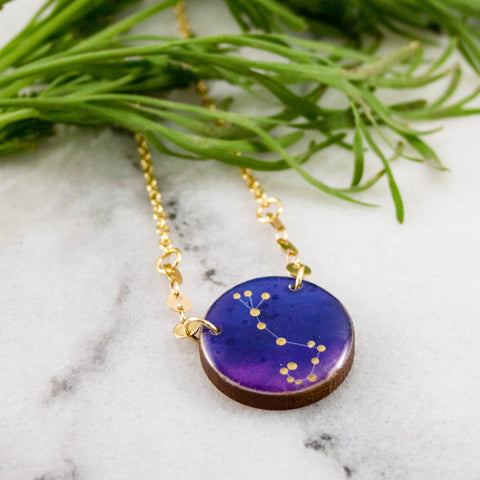 Scorpio Handpainted Constellation Necklace