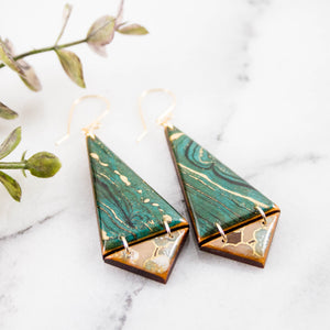 Japanese Double Triangle Earrings- Turquoise Marble