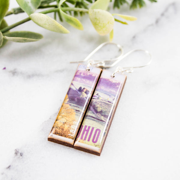 OHIO- Vintage Postage Stamp Earrings
