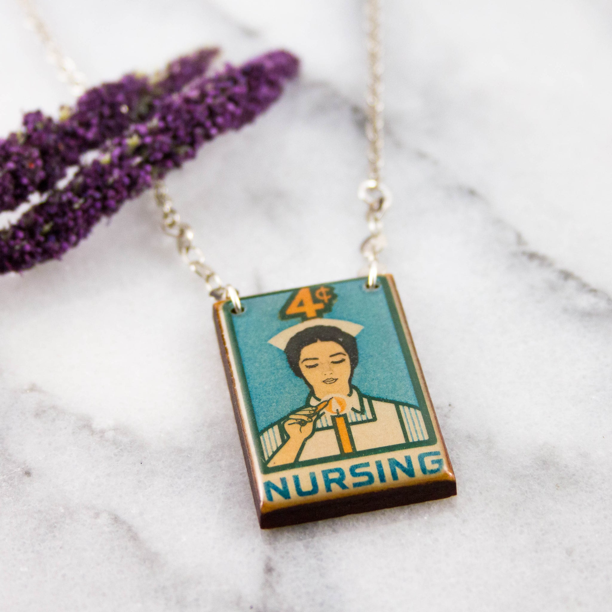 US- Vintage Nursing Stamp Necklace