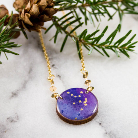 Aquarius Handpainted Constellation Necklace