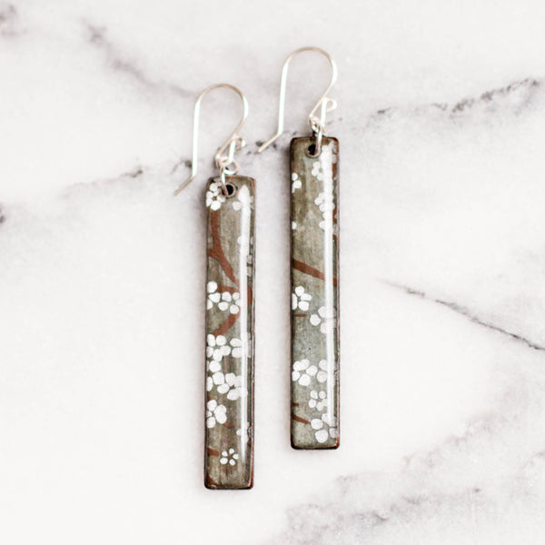 Gray + Silver Cherry Blossom Bar Earrings