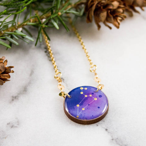 Leo Handpainted Constellation Necklace