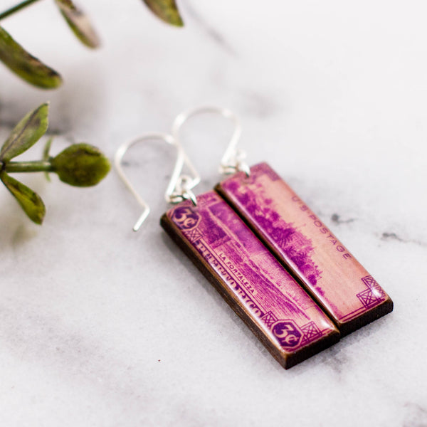 Puerto Rico Vintage Postage Stamp Earrings