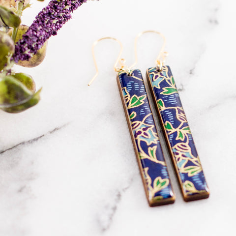 Royal + Gold Deco Floral Bar Earrings