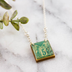 FRANCE- Antique Postage Stamp Turquoise Necklace