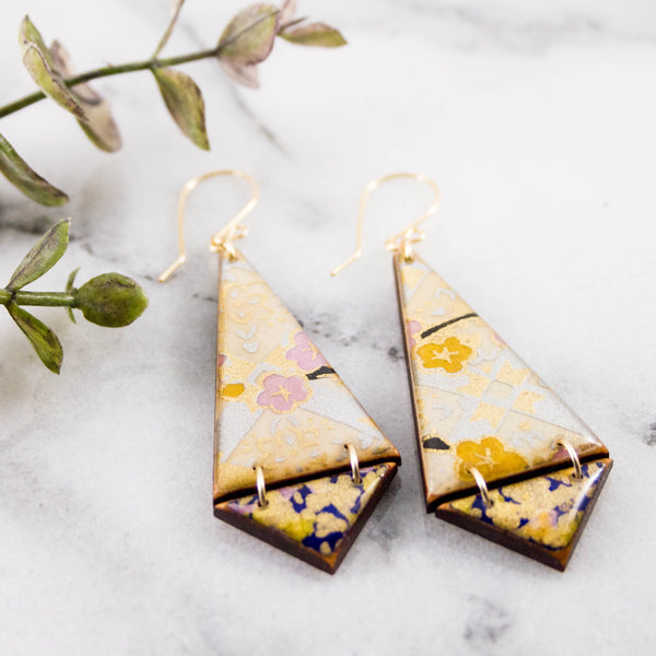 Japanese Double Triangle Earrings- Lilac Lattice