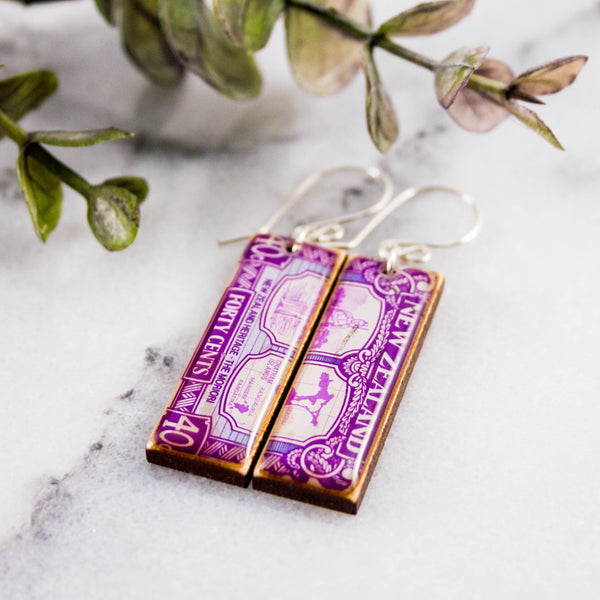 NEW ZEALAND- Vintage Postage Stamp Earrings