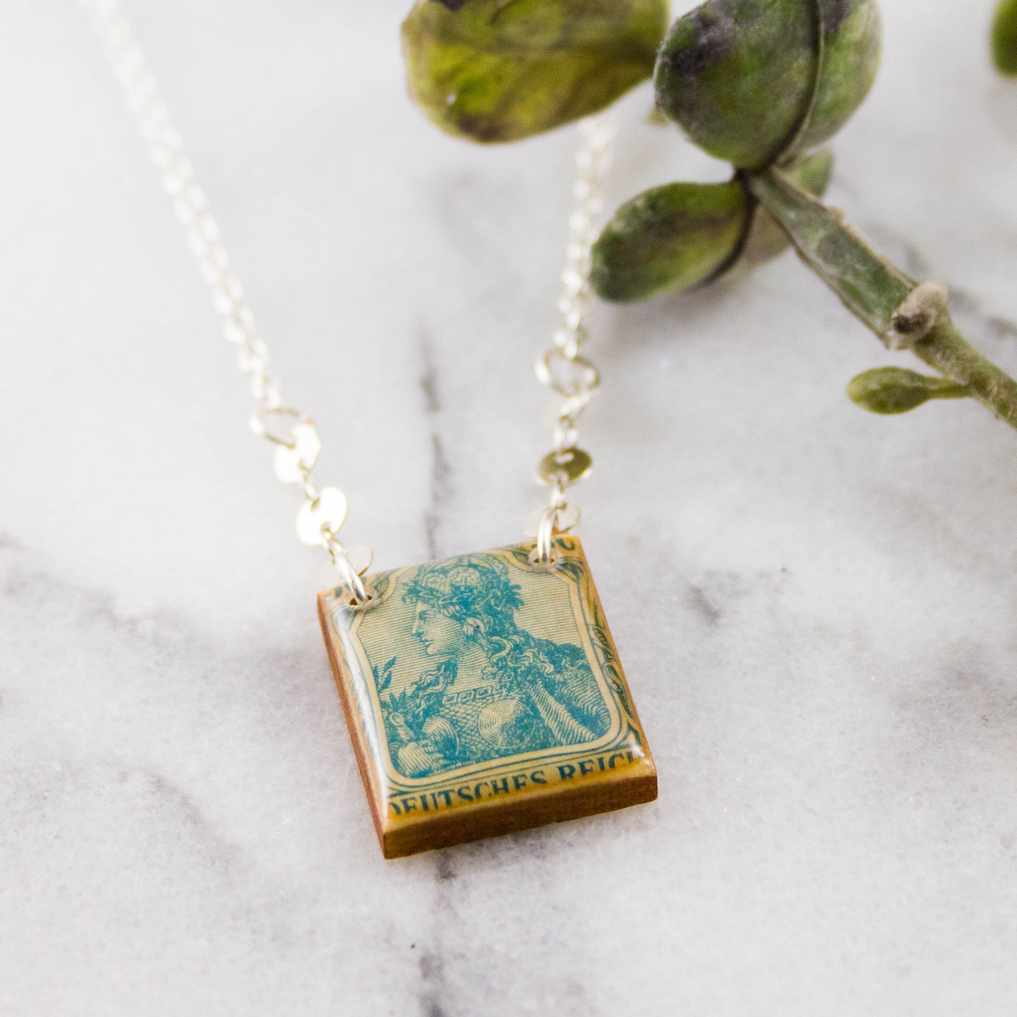 GERMANY- Antique Postage Stamp Necklace in Turquoise