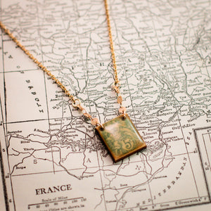 FRANCE- Antique Postage Stamp Pale Blue Art Necklace