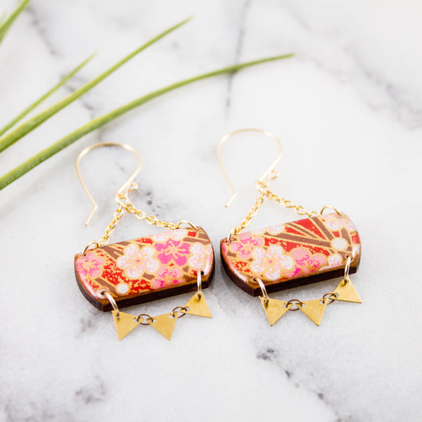 Festival Drop Earrings- Red Cherry Blossom