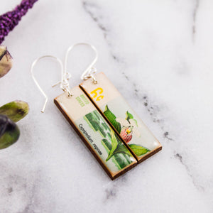 US- Vintage Botanical Orchid Postage Stamp Earrings
