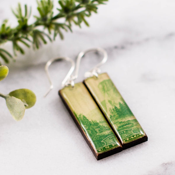 US- Yosemite National Park Vintage Postage Stamp Earrings