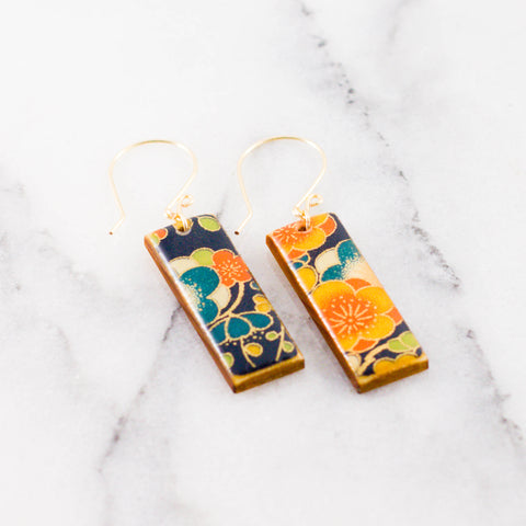 Navy + Gold Floral Rectangle Earrings