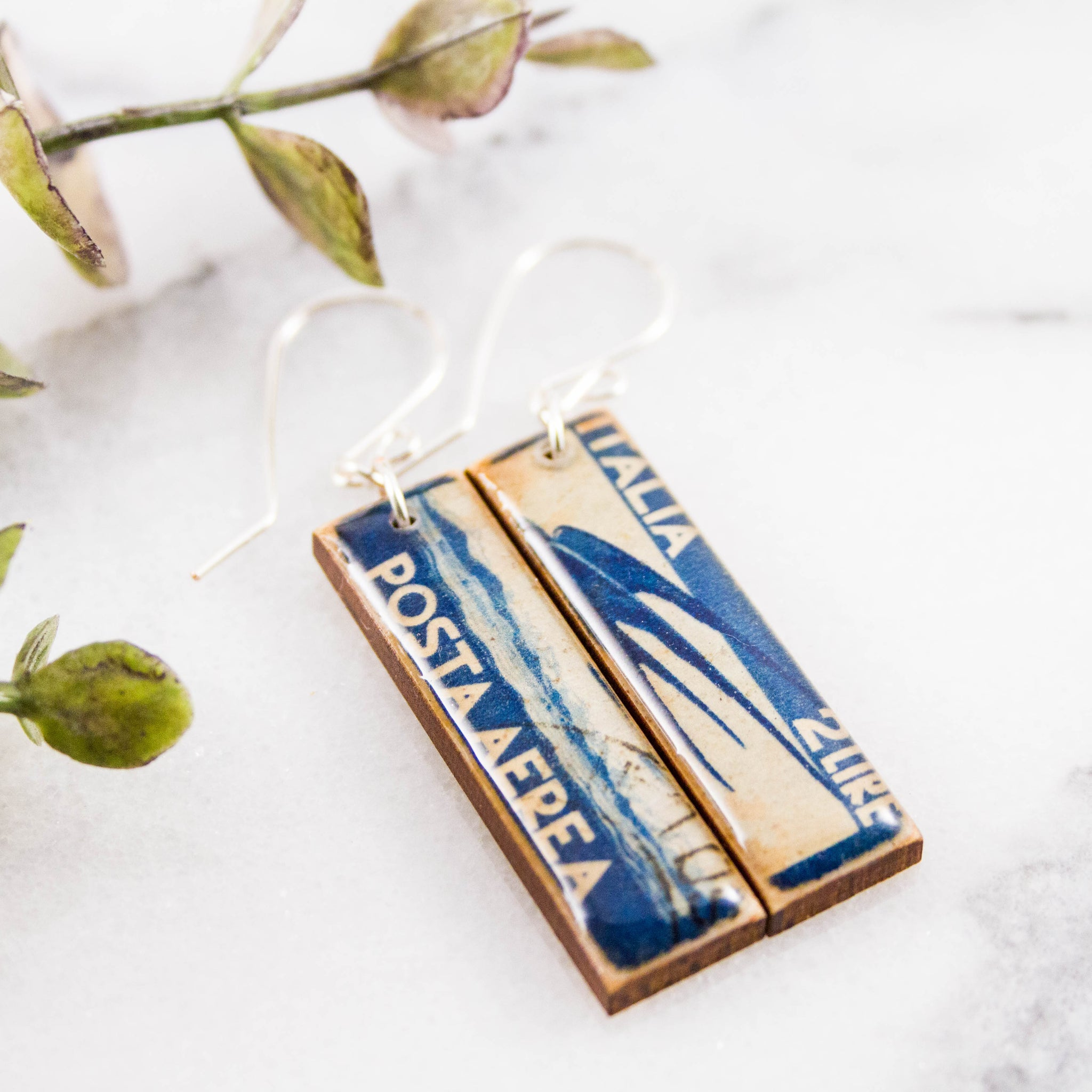 ITALY- Vintage Airmail Postage Stamp Earrings