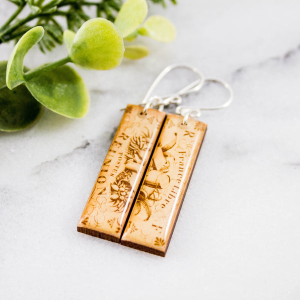 FRANCE- Vintage Reunion Island Postage Stamp Earrings