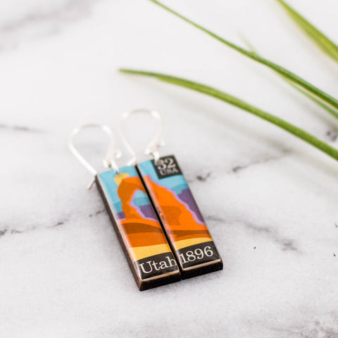 Utah Vintage Postage Stamp Earrings