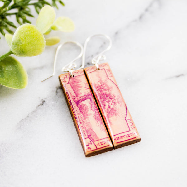 CONNECTICUT- Vintage Postage Stamp Earrings