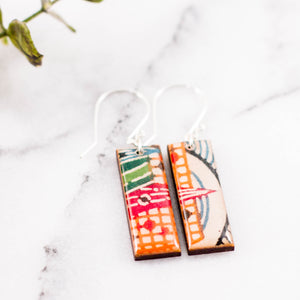 Japanese Bright Geometric Rectangle Earrings