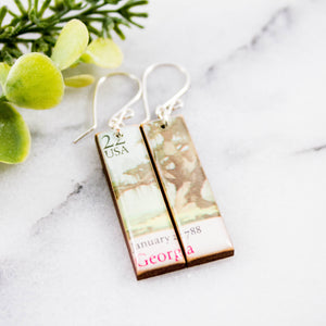 GEORGIA- Vintage Postage Stamp Earrings