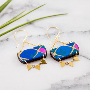 Festival Drop Earrings- Turquoise + Pink Geometric
