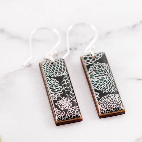 Black + Silver Zinnia Rectangle Earrings