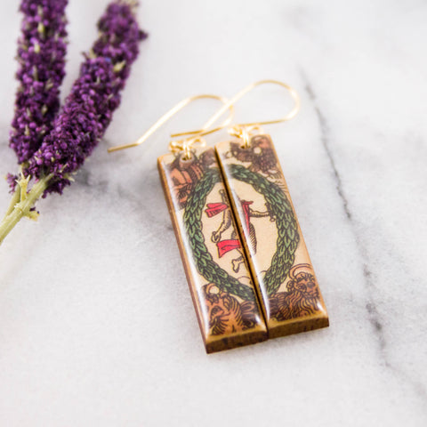 Italian Tarot Card Earrings- The World