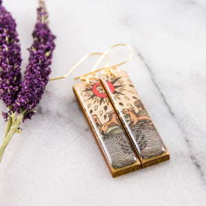 Italian Tarot Card Earrings- The Moon