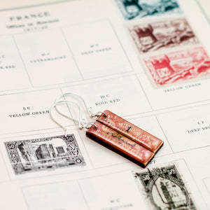 MOROCCO- Antique Postage Stamp Pink Earrings