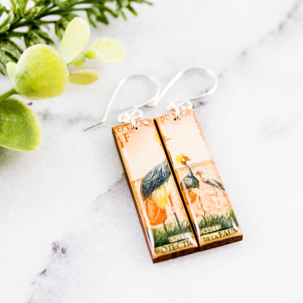 NIGER- Vintage Bird Postage Stamp Earrings