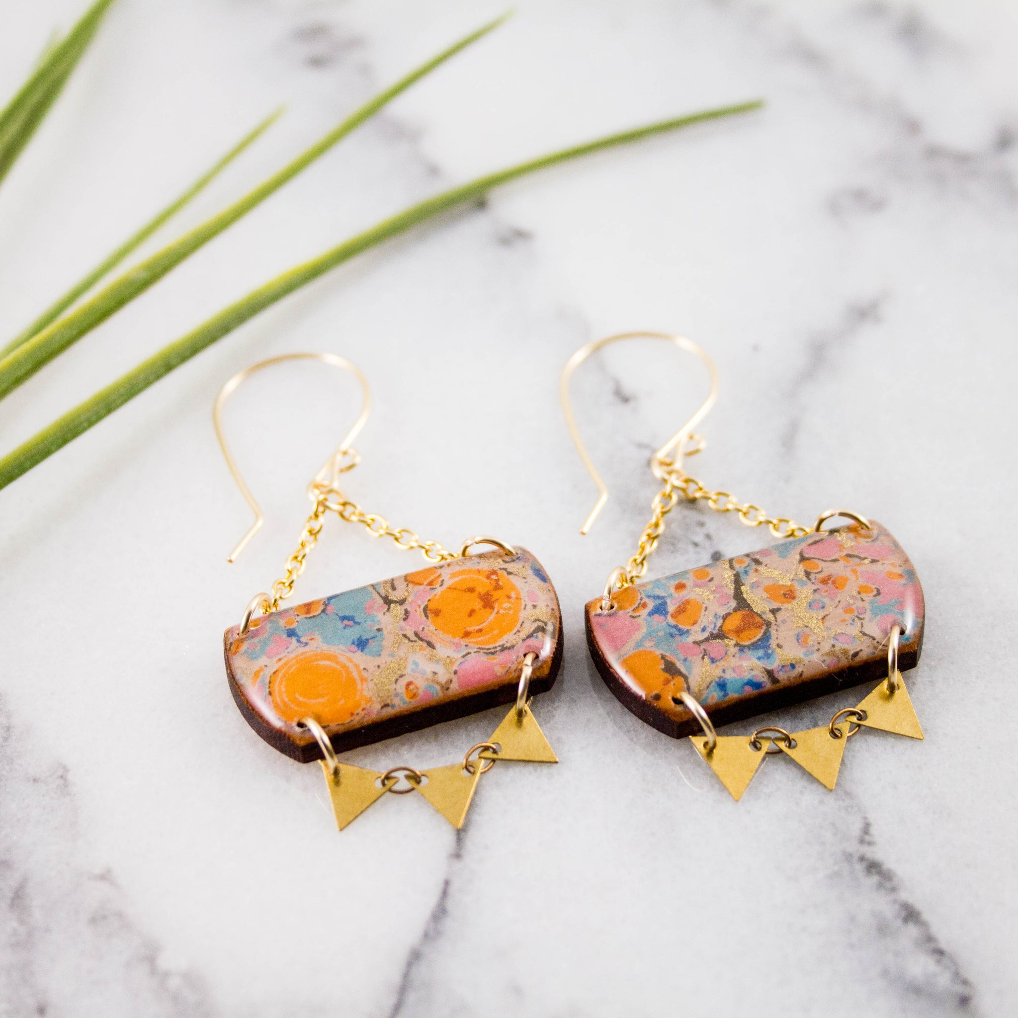 Festival Drop Earrings- Orange + Aqua Marble