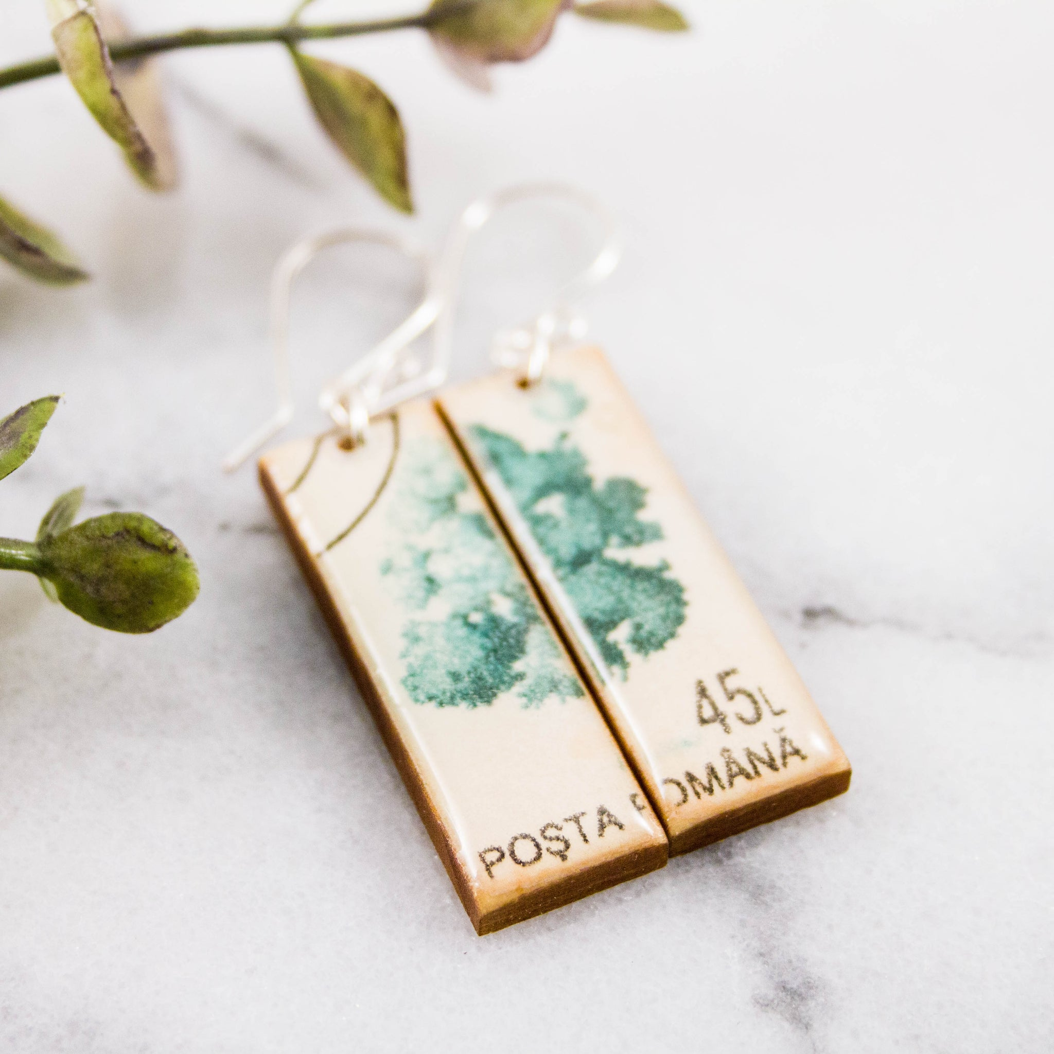 ROMANIA- Vintage Tree Postage Stamp Earrings