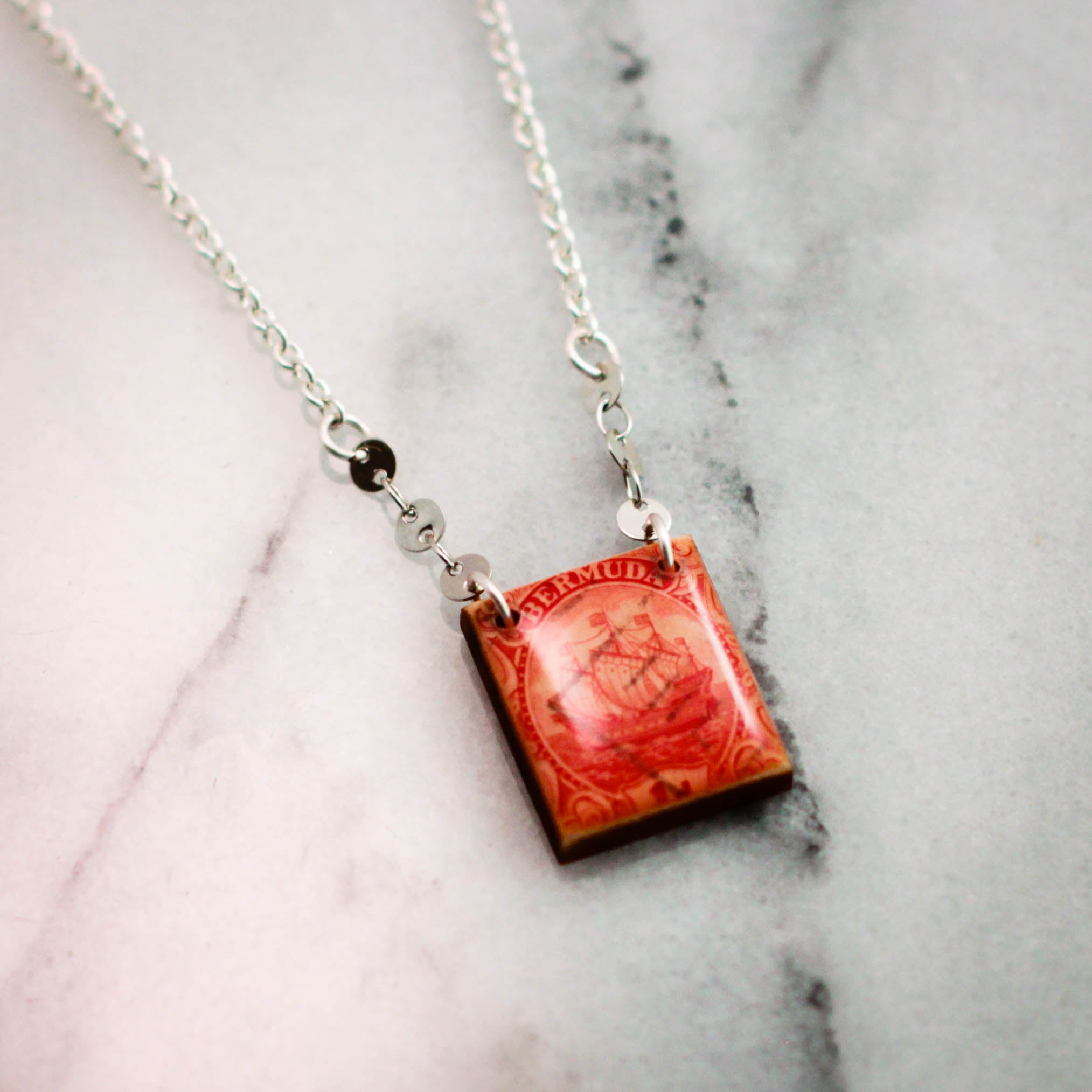 BERMUDA- Antique Postage Stamp Red Necklace