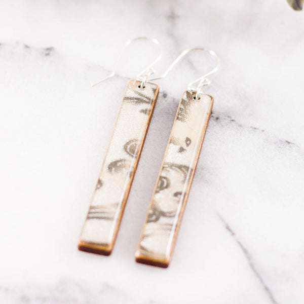Silver + White Floral Bar Earrings
