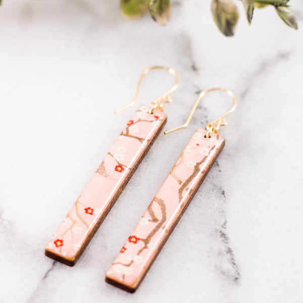 Pale Pink Cherry Blossom Bar Earrings