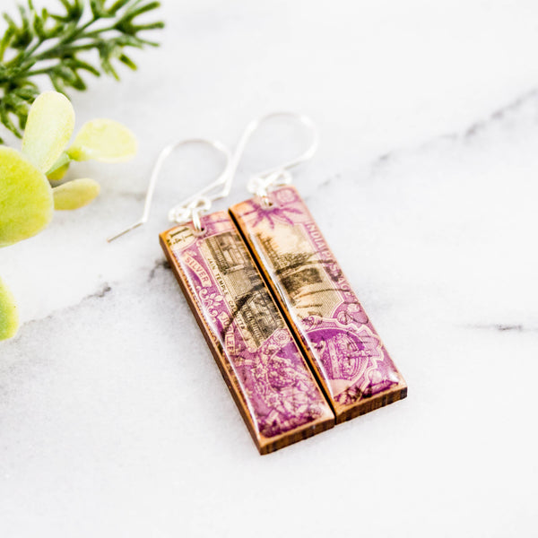 INDIA- Vintage Purple Postage Stamp Earrings