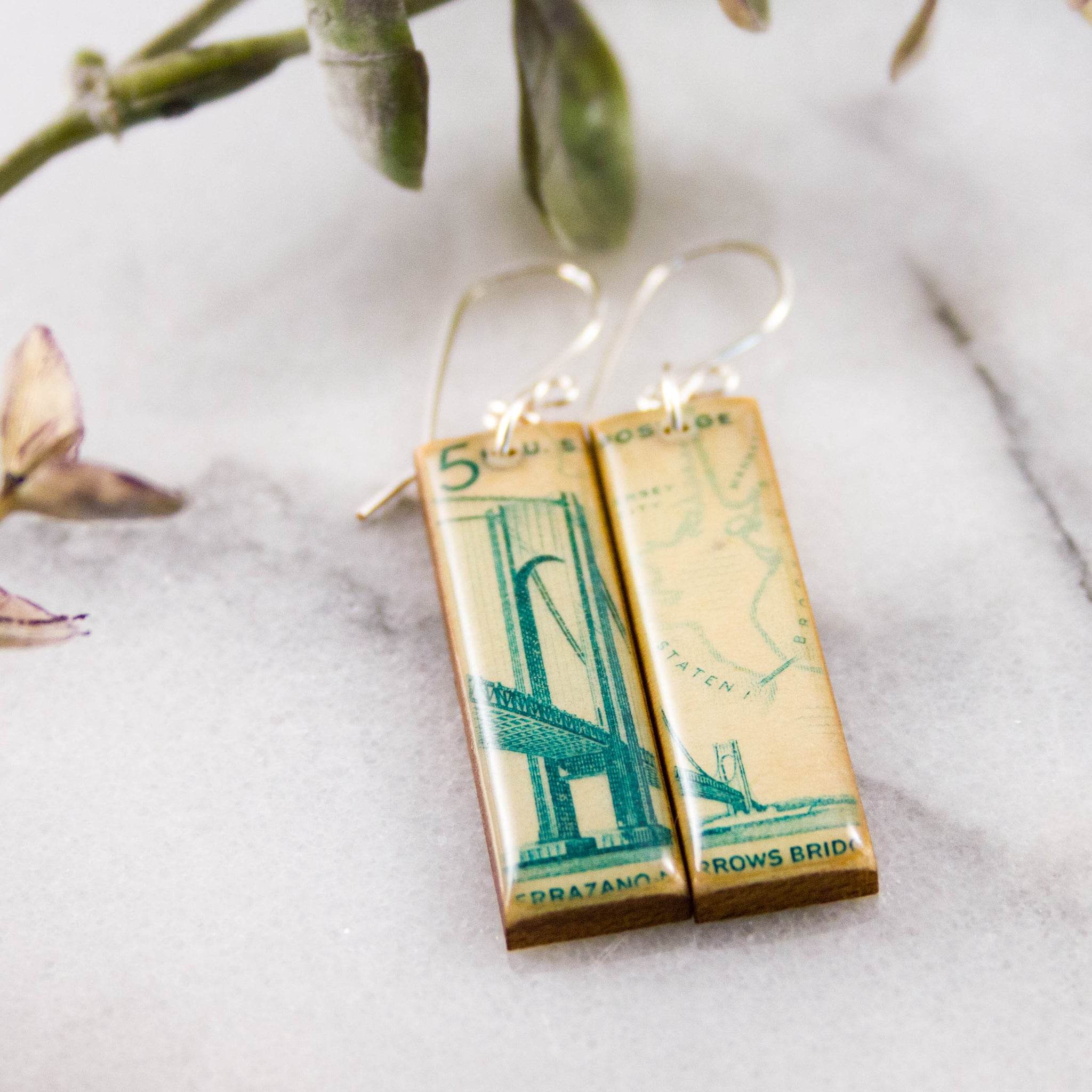 NEW YORK- Verazzano Bridge Vintage Postage Stamp Earrings