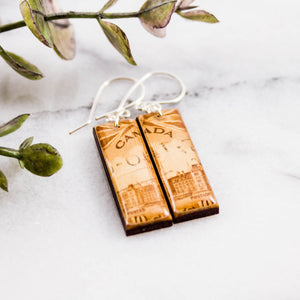 CANADA- Vintage Cityscape Postage Stamp Earrings